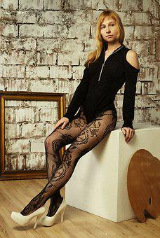 Girl, Tights, Patterns, Shoes, Bodysuit, Posing, Legs
