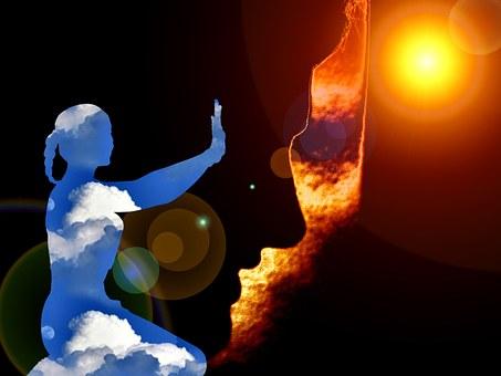 Meditation, Face, Sun, Heat, Prayer