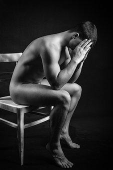 Men's, Nude, Model, Portrait, Adult, Style, Thought