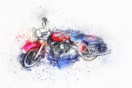 Motorcycle, Bike, Harley, Red, Oldtimer, Watercolor