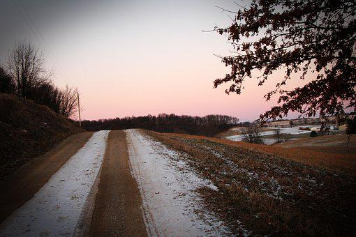 Road, Path, Lane, Dusk, Evening, Winter, Nature
