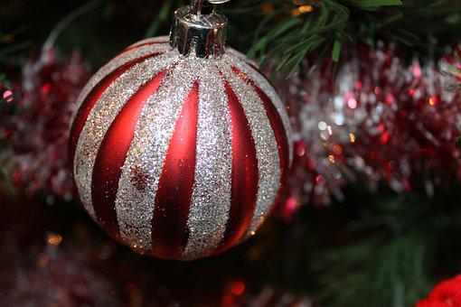 Red, Silver, Christmas, Tree, Ornament, Green, Ball