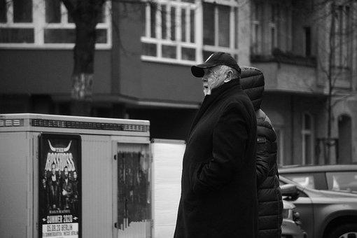 Man, Old, Walking, Berlin, City, Portrait, Sad, Poor
