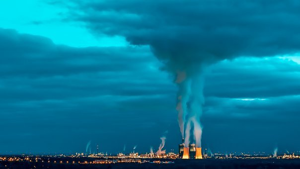 Industry, Pollution, Smog, Steam, Chimney, Power Plant