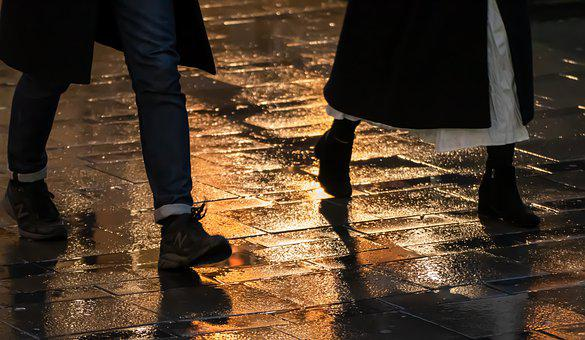 Rain, Sidewalk, Patch, Stone, Water, Wet, Road, City
