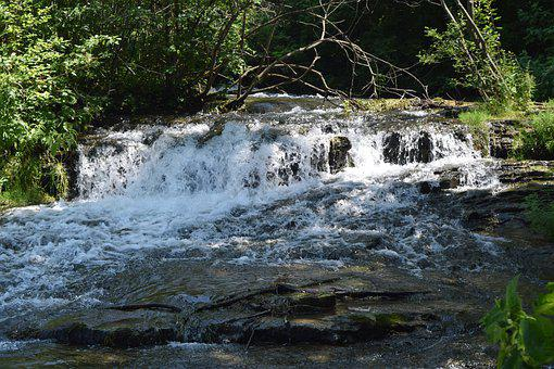 River, Falls, Water, Rapids, Nature, Outdoors