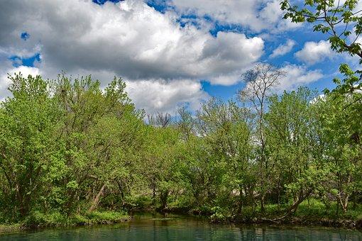Texas, Scenic, Landscape, Sky, Clouds, Nature, River