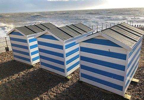 Huts, Sea, Beach, Seaside, Water, Ocean, Sky, Coast