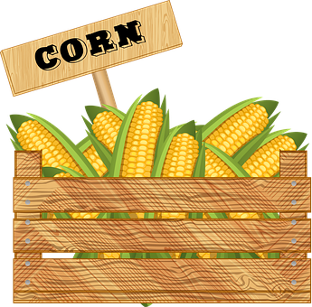 Crate Of Vegetables, Corn, Wooden Box, Farmer's Market