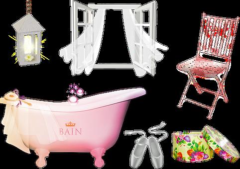 Bathroom, Bathtub, Window, Hat Box, Vintage, Rustic