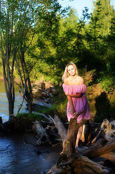 The Girl At The River, Small River, Blonde, Pink Dress