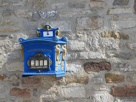 Mailbox, Post, Blue, Mail Box, Old, Nostalgia