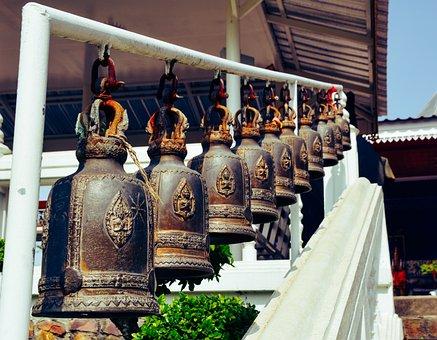 Bell, Temple, Buddhist, Buddha, Thailand, Buddhism