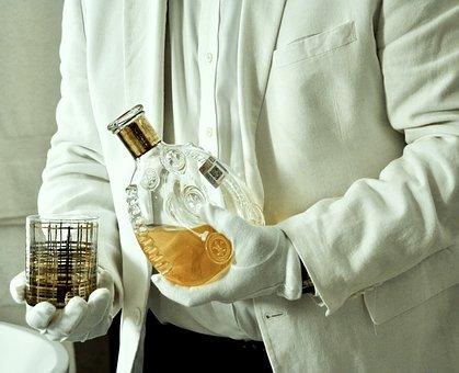 Service, Bottle, Alcohol, Butler, Suit, Sack, Glass