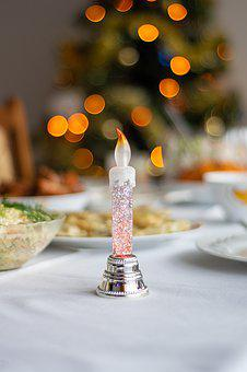 Holidays, Christmas Eve, Dining Table, Candle