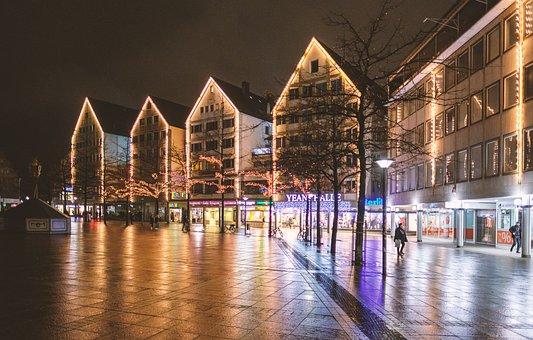 Marketplace, Center, City, Lighting, Lights, Night