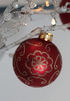 Christmas Bauble, Red, Gold, Christmas Decorations