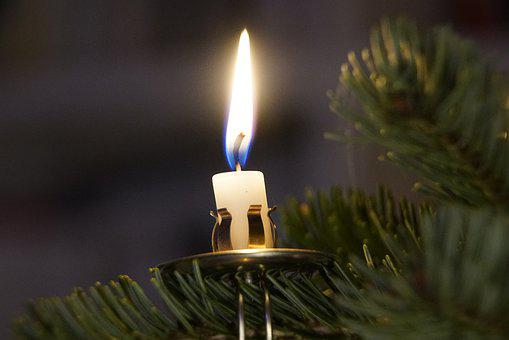 Candle, Christmas, Tree, Candlelight, December, White