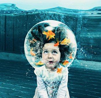 Fantasy, Creative, Small Girl, Fish, Fish Bowl