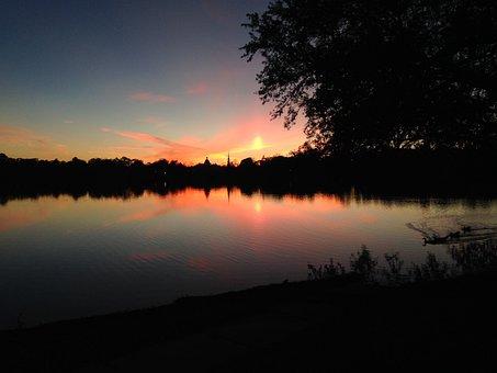 Lake, Sunset, Florida, Defuniak Springs, Reflection