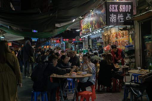 Hong Kong, Eat, Road, China, Food Stall