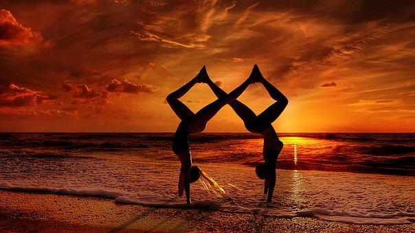 Yoga, Yogini, Asana, Balance, Couple, Female, Partner