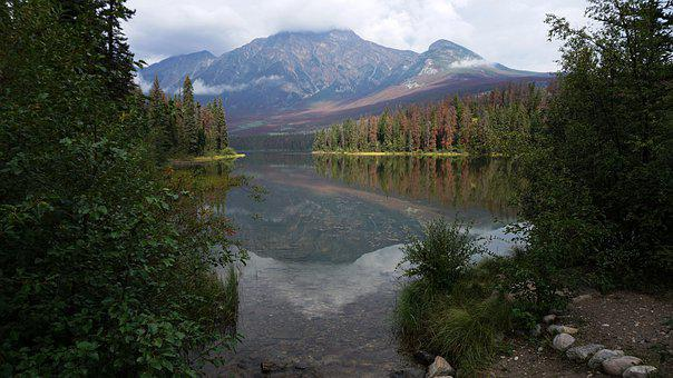 Canada, Pyramid Lake, Lake, Mountain, Landscape, Forest
