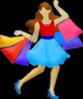 Flat Design People, Boy, Girl, Woman, Man, Shopping