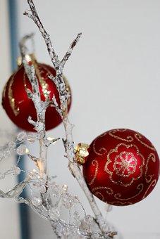 Christmas Decoration, Christmas Balls, Red, Gold