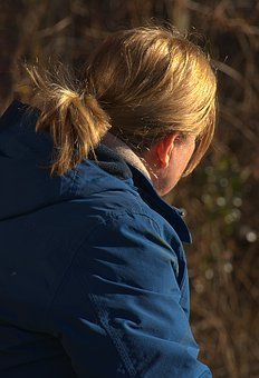 Woman, Sitting, Morning Sun, Hair, Autumn, Landscape