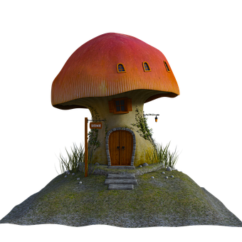 Mushroom, Home, Hill, 3d, Render, Pretty, Gnome, House