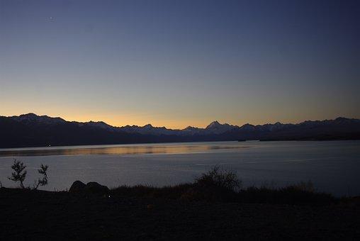 New Zealand, Beautiful, Lake, Evening, Sunset