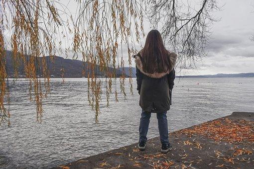 Girl, Lake, Morning, Winter, Romantic, Lake Ohrid