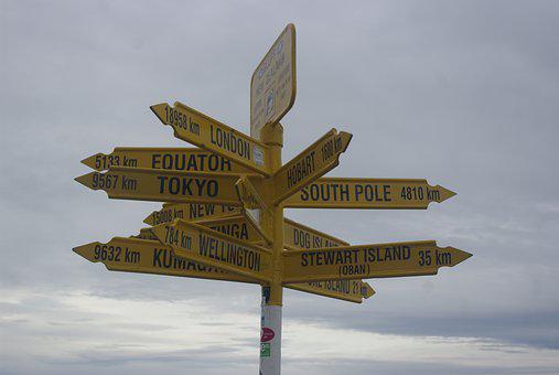 New Zealand, Directions, Confusing, Bluff, Signpost