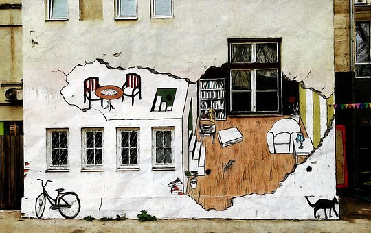 Painted Art Wall, Outdoor, Street, Alley, Drawing, Art