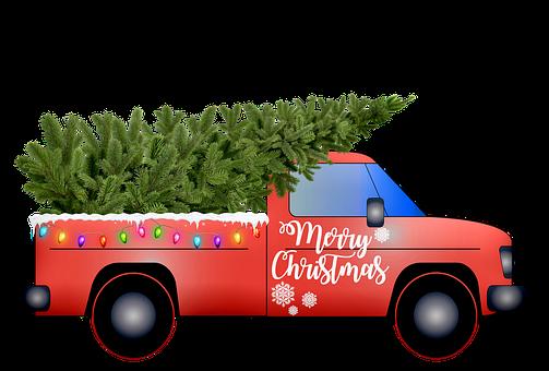 Christmas Truck, Pick Up Truck, Christmas Tree