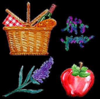 Watercolor Picnic, Basket, Picnic, Apple, Wine, Bread