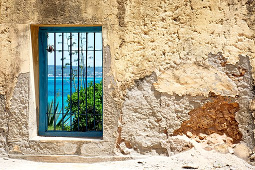Window, Island, Prison Island, Wall, Sea, Water