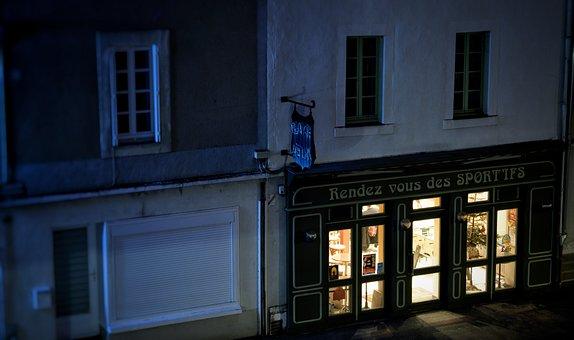 Street, Night, Bar, Pub, Café, Building