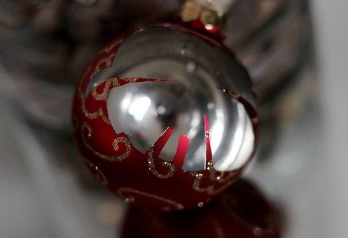 Christmas Bauble, Broken, Red, Gold, Inside, Glass
