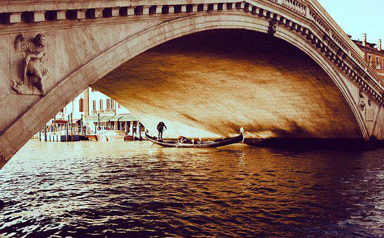Bridge, Rialto, Rialto Bridge, Venice, Italy, Gondola