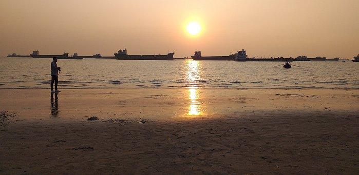 Sunset, Sea, Beach, Long Beach, Sea Sun, Sea Water