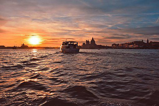 Sunset, Lighting, Afterglow, Silhouette, Venice, Boat