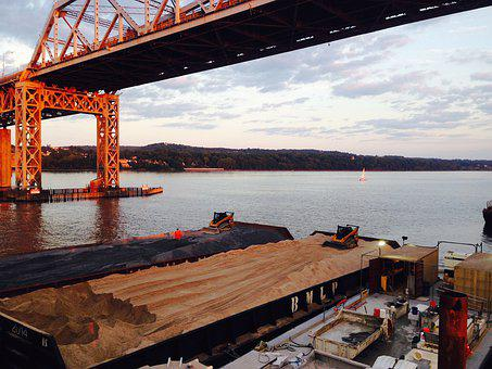 Barges, Skid Steer, River, Construction, Bridge, Water