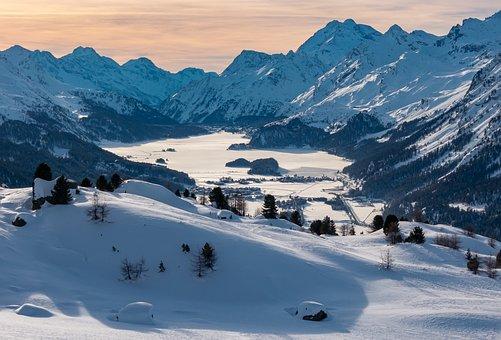 Engadin, Winter, Lake Sils, Switzerland, Snow