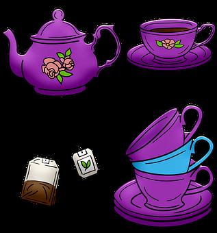 Tea Pot, Tea Cups, Stacked Cups, Tea Bag, Tea Time