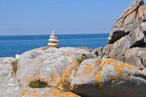 Stones, Cairn, Coast, Sea, Water, Stone Tower, Rock