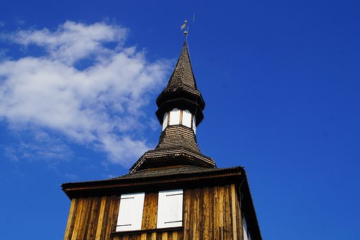 Wooden Tower, Sky, Church, Wooden Church, Roof, Sweden