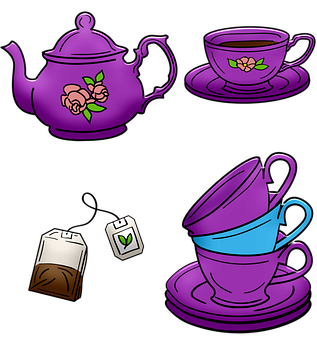 Tea Pot, Tea Cups, Stacked Cups