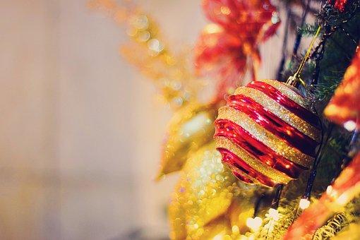 Christmas, Sphere, Christmas Tree, Season, Red, Trim